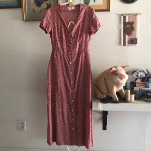 Vintage Zara Classics Red Floral button up dress